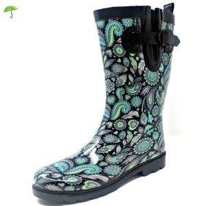 "Women 11"" Mid-Calf Parsley Rubber Rain Boots"
